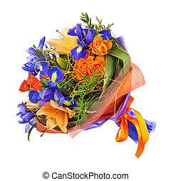 bouquet, lis, fleur, iris., roses