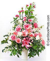 bouquet, lis, gerbera, oeillet