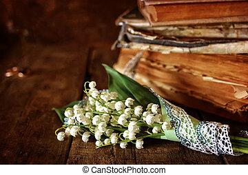 bouquet, lis, livre, retro