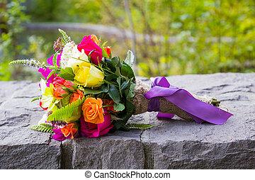 bouquet, mélangé, nuptial, fleurs