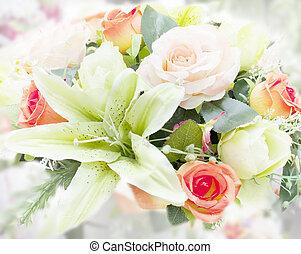 bouquet, maison, décoré, fleur