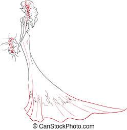 bouquet, mariée, élégant