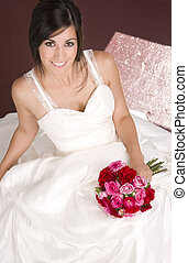 bouquet, mariée, assis