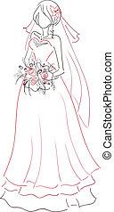 bouquet, mariée, croquis