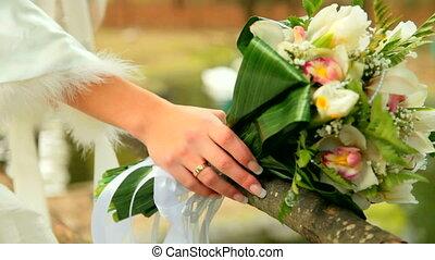 bouquet, mariée, main