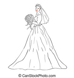 bouquet, mariée, robe blanche, mariage