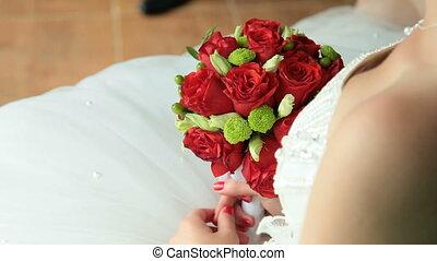 bouquet, mariée, tenue, rouges