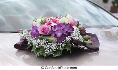 bouquet, mariage, célébration, amour, fleurs, beau, voiture