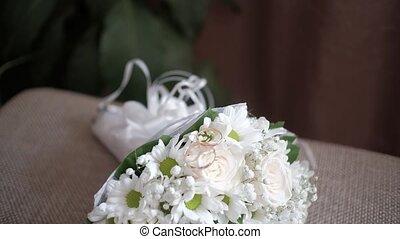 bouquet, mariage, floristry., moderne, beau, roses., bouquet.