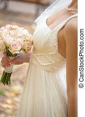 bouquet, mariage, mariée, mains