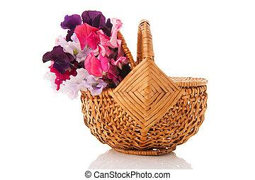 Bouquet mixed Lathyrus in basket