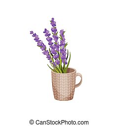 bouquet, mug., fleurs, vecteur, illustration.