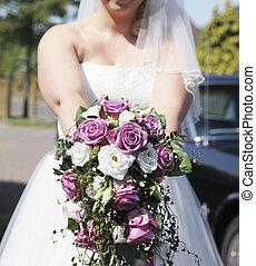 bouquet nuziale, con, rose