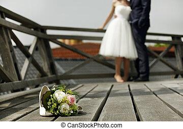 bouquet nuziale, con, sposa sposo