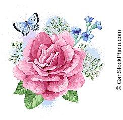 Bouquet of apple tree flower, gypsophila in watercolor style...