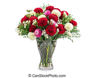 Bouquet of autumn flowers in a glass vase isolated on white