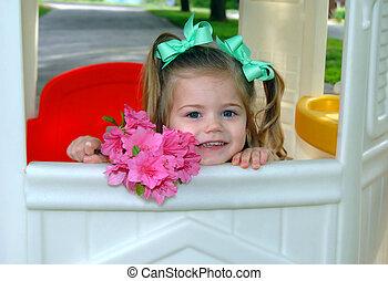 Bouquet of Azaleas and Peeking Girl