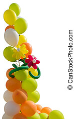 Bouquet of bright, colorful balloons on a white background
