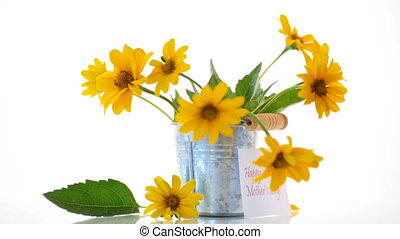 bouquet of beautiful blooming yellow daisies isolated on...