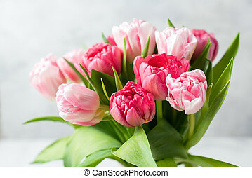 Bouquet of beautiful pink peony tulips
