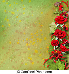 Bouquet of beautiful red roses for greeting card on abstract background