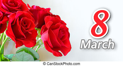 Bouquet of Beautiful Red Roses on Light Background. Greeting...