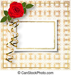 Bouquet of beautiful red roses with the invitation or...
