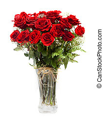 bouquet of blossoming dark red roses in vase isolated on white b