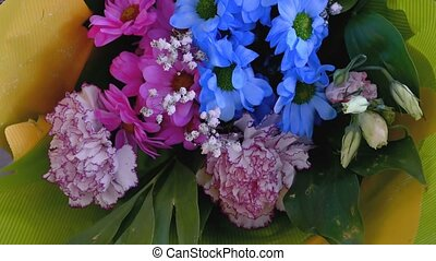 bouquet of blue flowers close-up of 4K