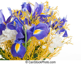 Bouquet of blue irises and white flowers
