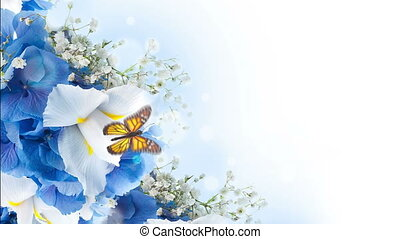 Bouquet of blue irises, white flowers and butterfly