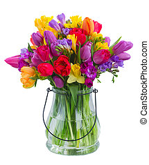 bouquet of bright spring flowers