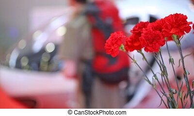 Bouquet of carnations stands against helicopter cabin
