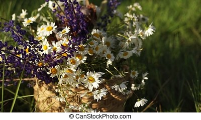 Bouquet of chamomile and lupins in a wicker basket.