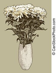 bouquet of chrysanthemums in a vase