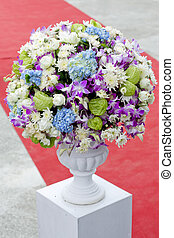 Bouquet of colorful flowers in ceramic vase
