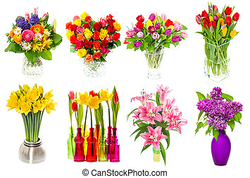 Bouquet of colorful flowers. tulips, roses, lilac, narcissus, li