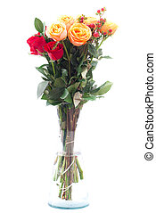bouquet of colorful roses in a vase on white background