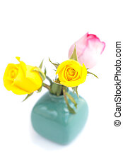 bouquet of colorful roses in vase isolated on white