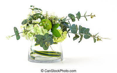 Bouquet of cosmos and eucalyptus in glass vase isolated on white