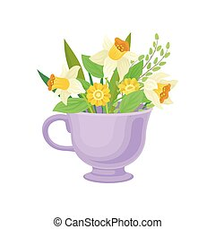 Bouquet of daffodils in the circle. Vector illustration on white background.