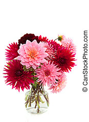 bouquet of Dahlias - Cheerful bouquet in vase with red and ...