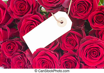 bouquet of dark red roses with tag - bouquet of dark red...