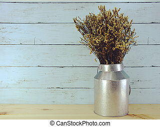 bouquet of dried flowers bundle in metal vase home decoration