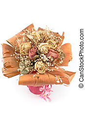 Bouquet of dried roses flowers isolated on white