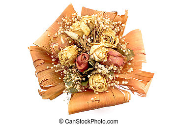 Bouquet of dried roses flowers