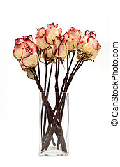 bouquet of dried roses on a white background