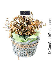 Bouquet of dry flower with happy birth day label