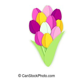 Bouquet of eleven paper cut tulip flowers on white background
