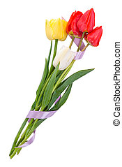 Bouquet of five tulips with tape